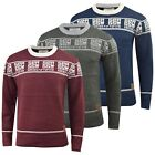 Crosshatch Mens Jumper  Knitted Crew Neck TXT Contrast Sweater, Knitwear