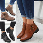 New Flat Ankle Boots Buckle Side Zip Casual Low Heel Womens Ladies Shoes Sizes