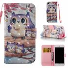 3d Pu Leather Wallet Case Flip Cover Card Slot Stand For Phone Purple Owl Family