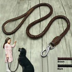 Leather Dog Leash Braided Rope Pet Leads Strong Soft for Medium Large Dogs Walk