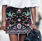 2017 NEW A/W BLACK FLORAL EMBROIDERED MINI SKIRT. BLOGGERS fashion hot