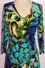 Valentina Top Multi Colored Blouse  Style 8761 1 Studed Polly NWT  Size Small