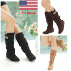 Us Womens Ladies Faux Suede Lace Mid-calf Hidden Wedge Heel Cuff Slouch Boots