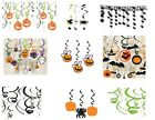 HALLOWEEN SPOOKY FUN SWIRL HANGING DECORATIONS WITCH PUMPKIN GHOST SPIDER ETC