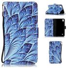 ZD Flip Book Wallet Leather Case Cover Stand For Various Phones BLUE LEAF