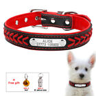 Red Personalized Dog Collar Padded Pet Name ID Tag Collars Engraved + Bell +Tube