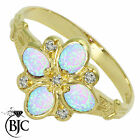 BJC® 9ct Yellow gold Oval Cut Opal & Diamond size N Cluster ring R189