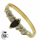 BJC® 9ct Yellow gold Garnet & Diamond Solitaire Dress Ring size O ring R123