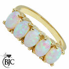 BJC® 9ct Yellow Gold Half Eternity Opal 5 Stone size N dress Cluster ring R188