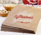 Christmas 'Star' 7x5in Kraft Brown Paper Bags Sweets Party Candy Xmas Cookie