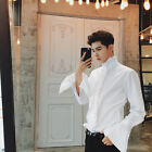 New Gothic Men Shirt Top Victorian Ruffle Collar Puff Sleeve Vintage White