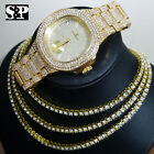 Iced Out Gold PT 1 Row Lab Diamond Tennis Choker Chain Necklace & Bling Watch