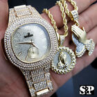 Luxury Hip Hop Iced Out Lab Diamond Watch & Praying Hands 2 Necklace Combo Set image