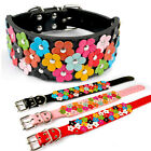 "2.0"" Wide Fancy Full Flowers Studded Pet Dog Collars for Girl Dogs Breeds M L XL"