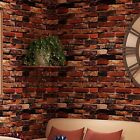 3D Red Brick Wallpaper Roll Retro Stone Brick Wall Background Textured Art Home