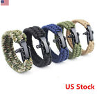 US Emergency Bracelet Rope Outdoor Survival Camping Hiking Steel Shackle Buckle