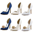 HC1601 Satin Pointy Toe D'orsay High Heel Sexy Women Wedding Party Court Shoes