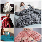 Chunky Knitted Thick Blanket Hand Yarn Bulky Knit Throw Sofa Blanket 100*80cm CA