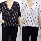UK Ladies Womens Fashion Red Lipstick Print Blouse Lipstick Printed Blouse Top