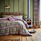 Catherine Lansfield Heritage Kelso Heather Cotton Rich Check Duvet Set Bedding