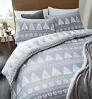 Catherine Lansfield Grey & White Nordic Hearts Trees Christmas Festive Duvet Set
