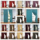 Eyelet or Pencil Pleat Jacquard Pair of Curtains Fully Lined Ready Made Tiebacks