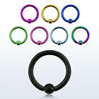 16G (1.2 mm) Titanium Anodized Captive Bead Ring Nose Hoop with 2.5 mm Ball
