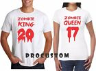 ZOMBIE KING and ZOMBIE QUEEN 2017 Halloween Couple matching funny cute T-Shirts