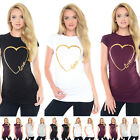 Purpless Maternity Gold Love Heart-Slogan Cotton Printed Pregnancy Top 2011