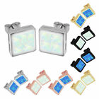 18K White Gold OPAL Ear Stud 925 Silver Plated Earring Square Xmas Free Nickel