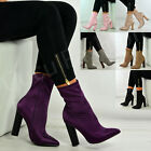 New Womens High Block Heels Ankle Boots Satin Pull On Zip Shoes Size Uk 3-8