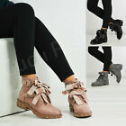 New Womens Ladies Ankle Biker Boots Lace Up Bow Zip Buckle Stud Shoes Size Uk