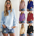 Women's Girls Long Sleeve Chiffon T-Shirt Blouse Summer Tops Clothes Plus Size