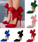 Women Sexy Bowknot Pointed Toe Suede Stiletto High Heel Office Work Party Shoes