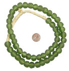 Asparagus Green Recycled Glass Beads 14mm Ghana African Sea Glass Round Handmade