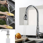 Kitchen Sink Faucet Single Handle Pull Out Sprayer Swivel Spout Brushed Chrome