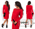 Business style Wrap Woman Dress Suiting fabric Knee-Length Long Sleeve Casual