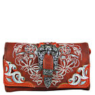 RED STUDDED BUCLE LOOK CLUTCH TRIFOLD WALLET WRISTLET & SHOULDER STRAP BLING NEW