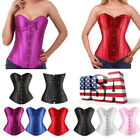 Women Boned Waist Training Corset Overbust Satin Bustier Top Black Punk Shaper