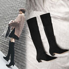 Womens Suede Soft Over The Knee Thigh High Boots Low Heels Shoes Back Zip Black