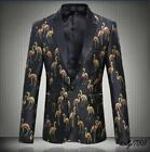 Mens Printed Birds Slim Suit Coat Fashion Clubwear Casual Dress Chic Jackets New