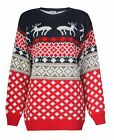 UNISEX FAIRISLE XMAS KISSING REINDEER CHRISTMAS NOVELTY KNITTED JUMPER TOP