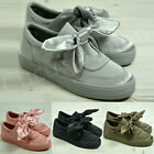 Womens Ladies New Bow Slip On Trainers Casual Plimsolls Shoes Size Uk 3-8