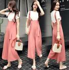 Chic Womens Wide Leg Loose Suspender Pants overalls Trousers Leggings Casual New