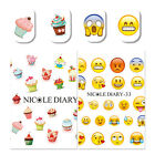 2x Nail Art Water Decals Transfer Stickers Cake Dessert Facial Expression DIY