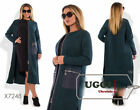 Elegant Woman Coat Ratine/ Boucle Eco-leather Casual Wear to work- Plus size
