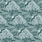 Makower - Into The Woods - Trees - Blue - Cotton Fabric Quilting Patchwork