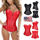 Women Boned Waist Training Corset Overbust Zipper Burlesque Bustier Top Shaper