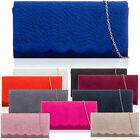 FAUX SUEDE WOMEN CLUTCH BAG LADIES BRIDAL EVENING WEDDING PARTY PROM FLORAL UK