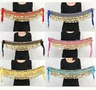Belly Dance Costume Golden Coins Waist Belt Velvet Skirt Dancing Hip Scarf Wrap